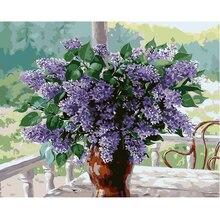 Colorear by números diy caligrafía pintura decorativa pintura de la lona by number arte de la pared cuadros para la sala de flores