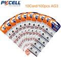 100 unids/10 tarjeta pkcell 1.5 v pila de botón ag3 392a sr41sw lr736 392 sr736 alcalina botón de la célula la moneda de la batería