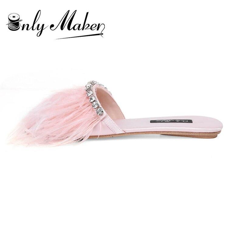 цена на onlymaker Women's Slip-on Slide Sandal Open Toe Faux Marabou Feather Pompom Mule with Rhinestone Flat Fuzzy Slippers
