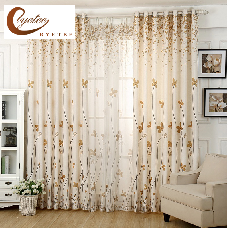 Byetee Four Leaves Window Ready Made Cotton Linen Curtain Door Bedroom Living Room Tulle