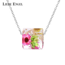 Charms Choker Resin Necklace Real Dried Flowers Pendant Statement Necklace Jewelry For Women Gift Silver Color Chain Wholesale