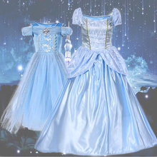 Adult Children Cinderella Deluxe Light Blue Shiny Gown Dress Mother Daughter Suit Women Girls Halloween Party Cosplay Costume цена 2017
