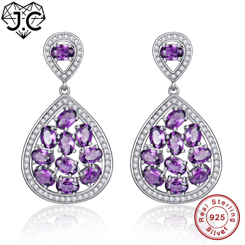 J.C For Women Oval Pink Amethyst Emerald Topaz Delicate Earrings Real 100% Solid 925 Sterling Silver Earrings Fine Jewelry pair of delicate graceful solid color opal embellished waterdrop shape earrings for women