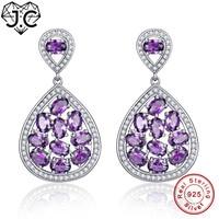 J.C For Women Oval Pink Amethyst Emerald Topaz Delicate Earrings Real 100% Solid 925 Sterling Silver Earrings Fine Jewelry
