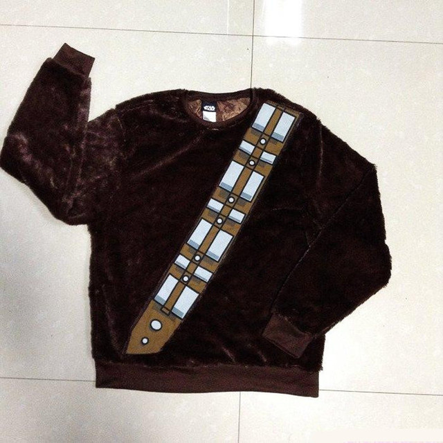 Star Wars I Am Chewie Chewbacca Furry Polyester Brown Costume Hoodie