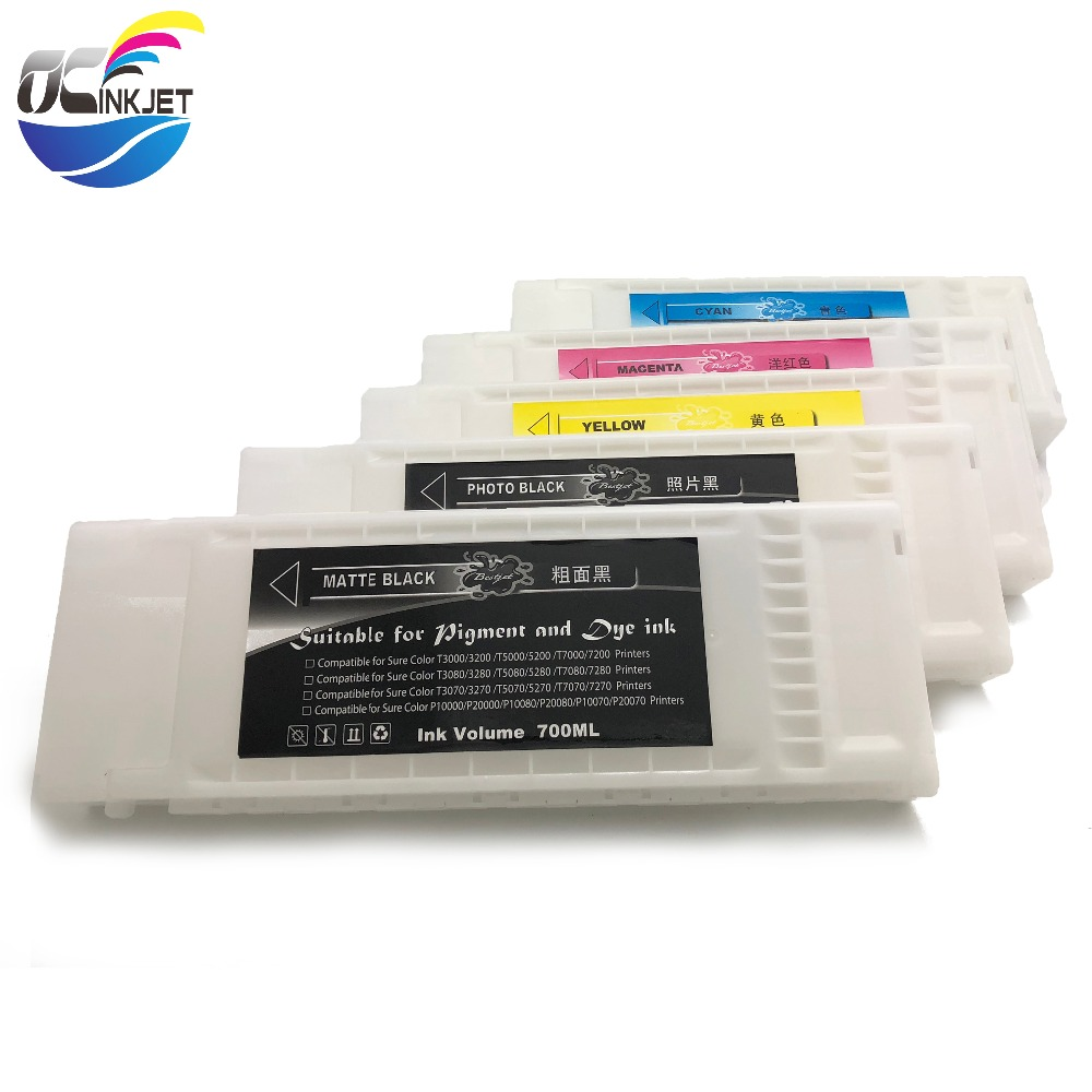 OCINKJET 700ml Refillable <font><b>Ink</b></font> Cartridge For <font><b>Epson</b></font> Surecolor T3200 <font><b>T5200</b></font> T7200 T3270 T5270 T7270 T3000 T5000 With One Time Chip image