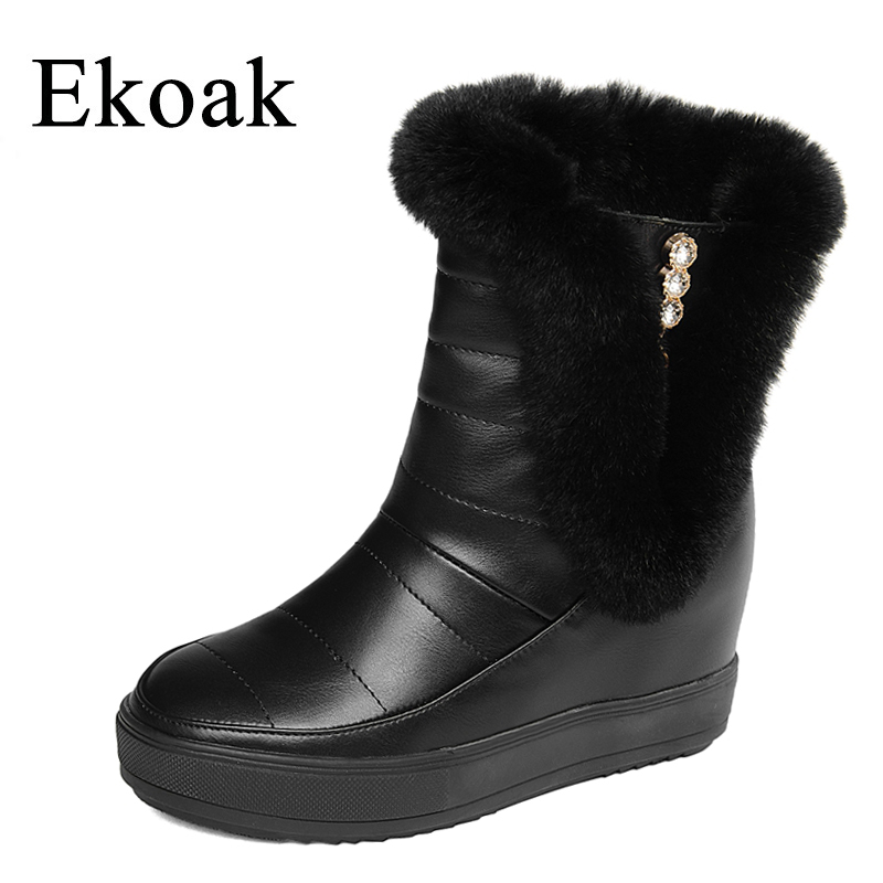 Ekoak Women Snow Boots Winter Rabbit Fur Ankle Boots Ladies Warm Plush Fashion Crystal Wedges Platform Shoes Woman Leather Boots fedonas top quality winter ankle boots women platform high heels genuine leather shoes woman warm plush snow motorcycle boots
