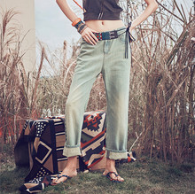 [AIGYPTOS- Aporia.As] National 2016 trend embroidered water wash finishing retro vintage jeans denim wide leg pants