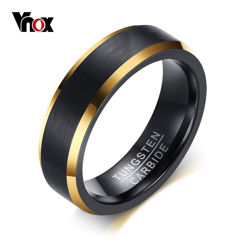 Vnox Tungsten Carbide Wedding Bands 6mm Gold Line Ring Black Matte Finished Male Engagement Anel Jewelry