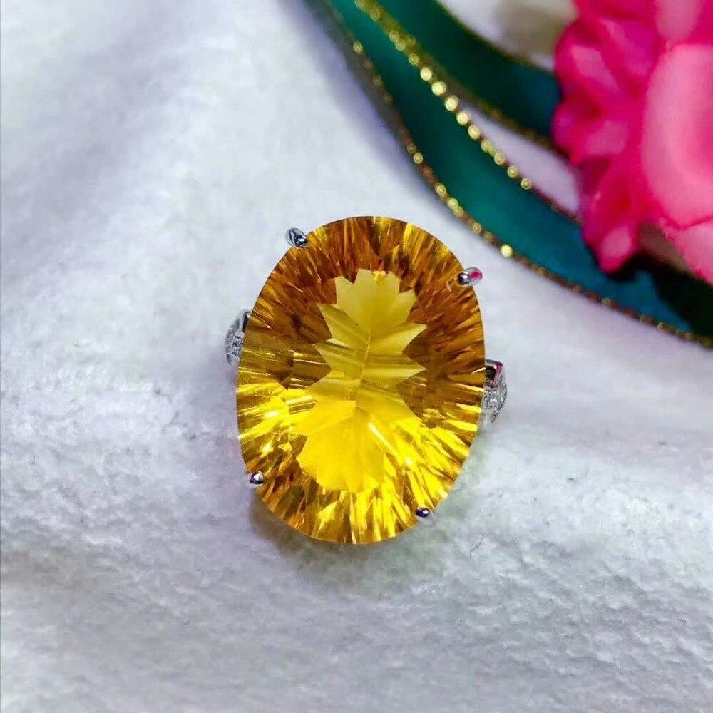 shilovem 925 sterling silver Piezoelectric citrine Rings fine Jewelry women trendy wedding open new gift xhfj1520888agj