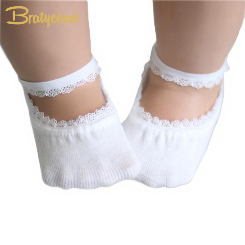 New Cotton Baby Socks Summer Solid Color Anti-slip Lace Baby Girl Socks Kids Accessories 5 Colors