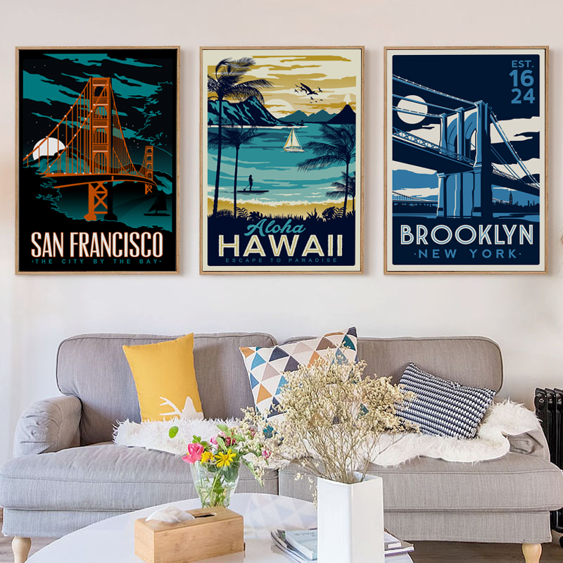 Puisi Elegan Hawaii Ocean Beach World Tarikan yang Terkenal Landskap Lukisan Kanvas Seni Cetak Poster Picture Home Decoration