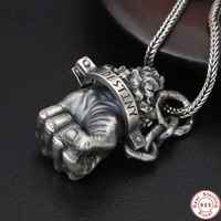 2019 Christmas Gift Pendant 100% Real 925 Sterling silver Jewelry Accessories Men and Women Punk Hercules fist Necklace Pendant