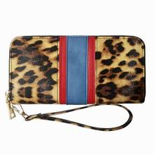 KANDRA Personalized Leopard Patchwork Long Wallet for Women with Removable Wristlet Strap Animal Print Zipper Purse Card Holder wristlet purse with tassel