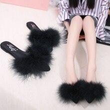 Doux de couleur de sucrerie d'été femmes réel naturel plume de fourrure pantoufles femmes sandales à bout ouvert plat chaussures