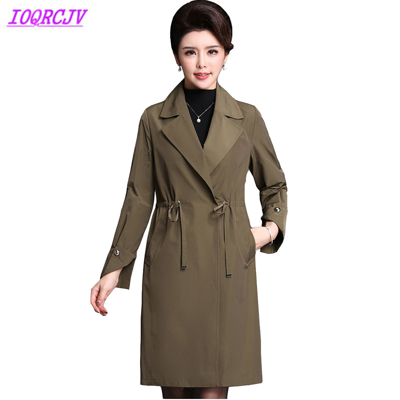 Spring Women   Trench   Coat Fashion Boutique Middle aged Female Casual Tops Outerwear Plus size Slim Windbreaker Coat IOQRCJV H158