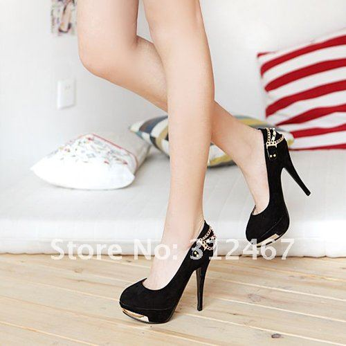 1536 fashin sexy ladies high heel shoes basic flock pointed Toe women pumps shoes