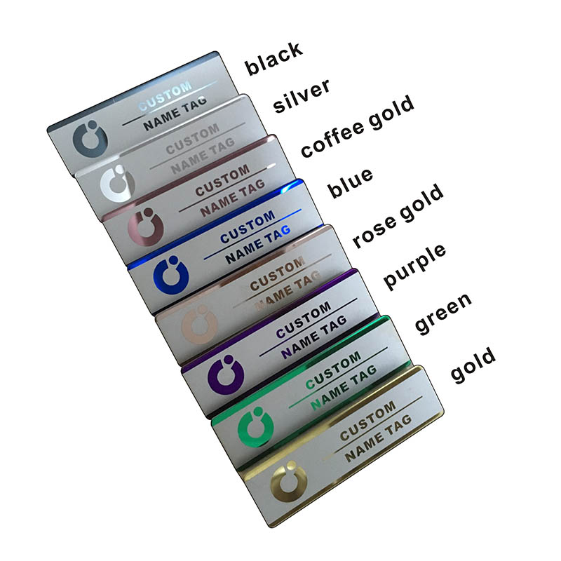 10pcs custom name tag personalized name badge id business laser name plate badge with magnet or pin  (28)