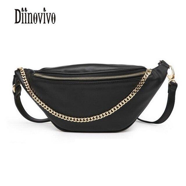 DIINOVIVO Classic Black PU Leather Waist Packs Chain Fashion Women Fanny Pack Vintage Design Bags Famous Brand Belt Bags DNV0441
