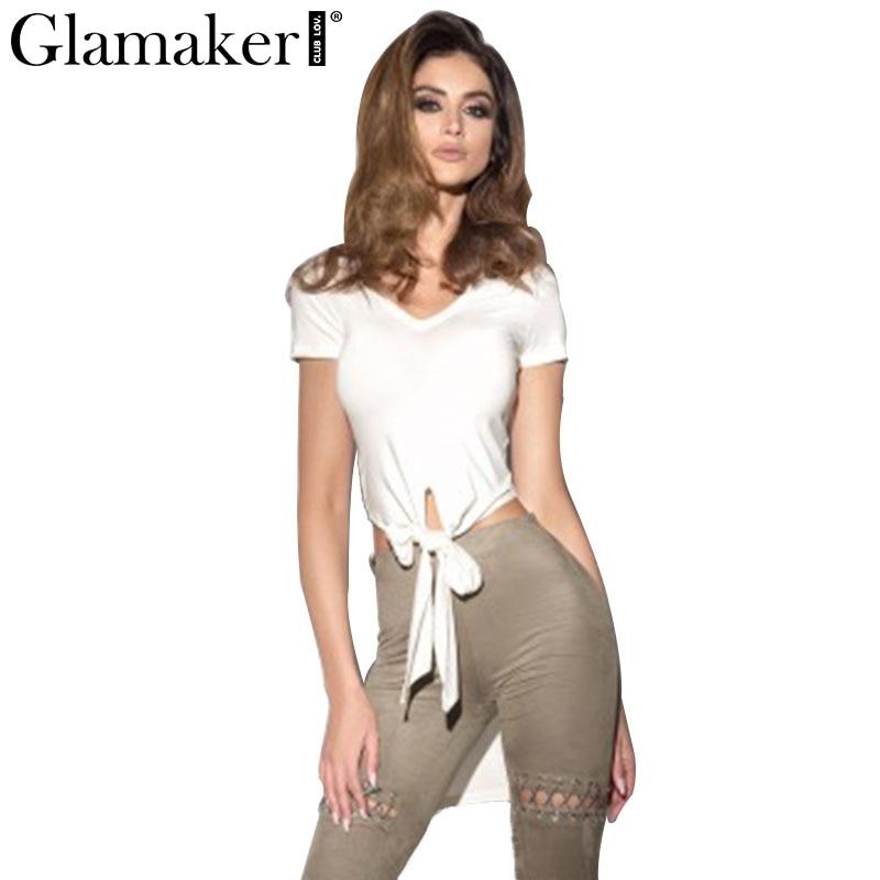 Glamaker Frente arco blanco blusa Mujeres tops sexy Swallowtail crop top trasero