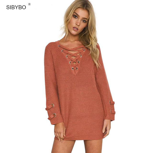 Julissa Mo Lace Up Knitted Autumn Sweater Women Sexy  V Neck Long Sleeve Brick Red Pullover Casual Outerwear Elastic Waist Top