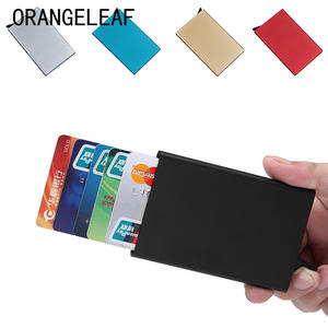 Automatically Metal Business ID Credit Card Holder Thin Wallets Pocket Case Bank Credit Card Package Case Card Box New