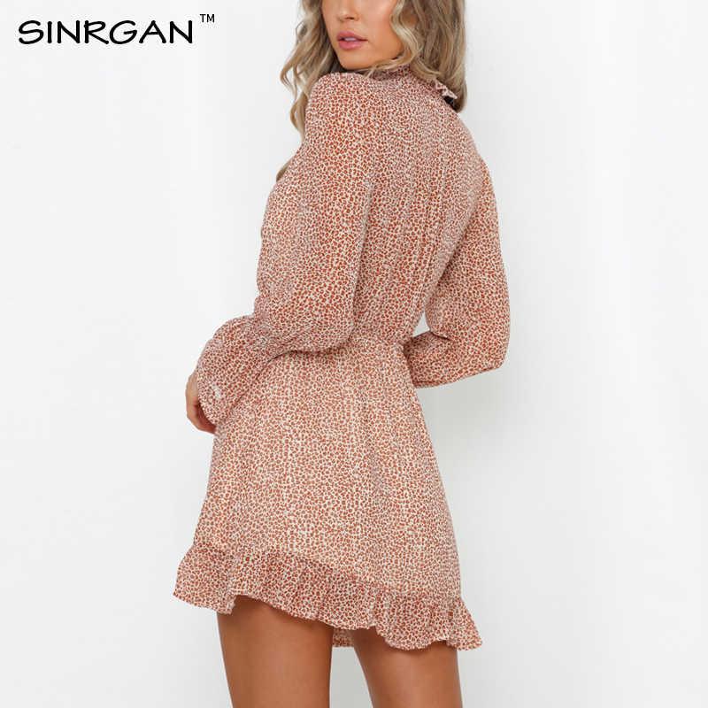 SINRGAN Autumn Sashes Ruffles Women Dress Spring Bohemian Turtleneck Flare Sleeve Sweetwear Women Beach robe Dresses