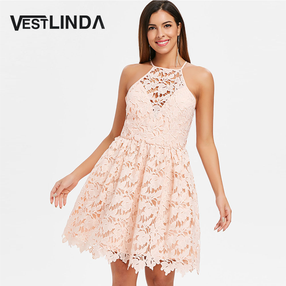 VESTLINDA Bib Neck Sleeveless Lace Skater Dress Vestidos Verano 2018 Summer  Party Dress Women Mini A Line Hollow Out Club Dress-in Dresses from Women s  ... 47d8fcb66