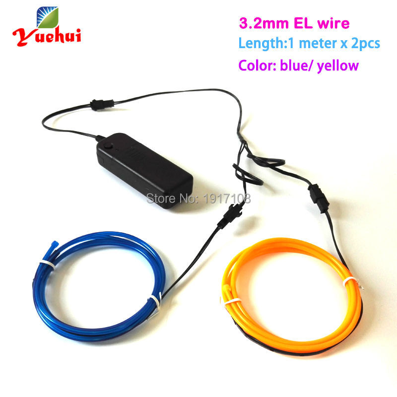 3.2mm 1M 2pieces Custom Color EL Wire Electroluminescent Rope Tube Flexible Neon Glow Light For Car,Toys,Craft Party Decoration