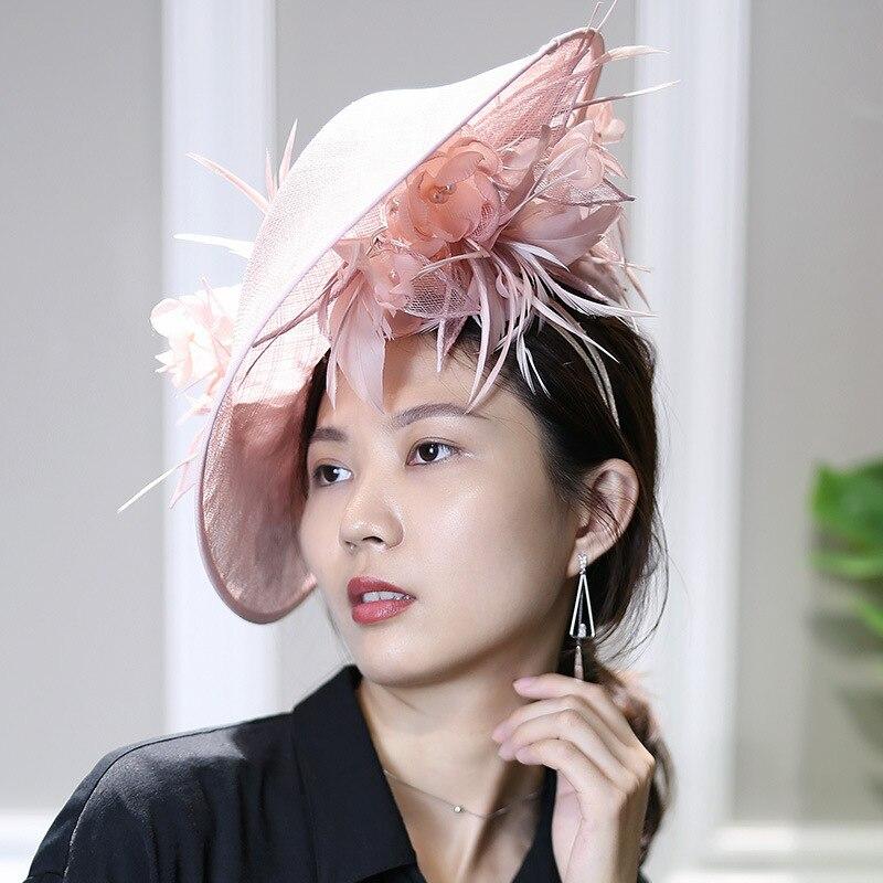 Haute qualité Fascinator chapeau Cocktail mariage église diadèmes casque kentucky chapeaux Chic cheveux accessoires Sinamay Fascinators