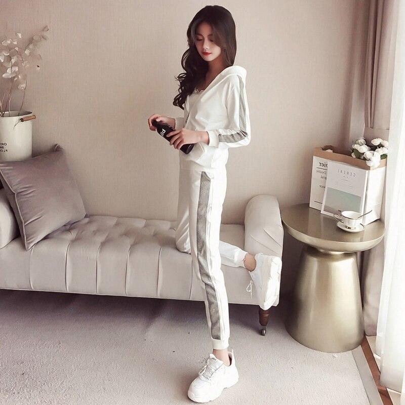 Casual sport costumes femmes de printemps et automne 2019 nouveau printemps de mode version Coréenne de la lâche Harajuku style deux -pièce