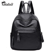 2019 New High Quality Fashion Women Backpack Genuine Leather Classic Luxury Casual School Bags Black Backpack For Ladies