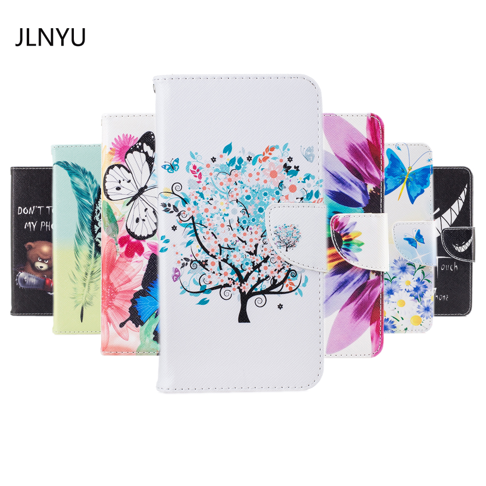 JLNYU For iphone 7 Case Fashion Flower Life tree Flip Book Cover Shell For Apple iphone 8 4.7inch Cute Cartoon PU Phone Bag