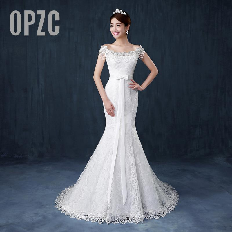 Free shipping High grade Mermaid court train 2016 New Design White Lace Princess Bead Wedding Frocks