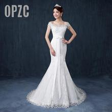 Darmowa wysyłka wysokiej jakości Mermaid court suknie ślubne z trenem 2020 nowy projekt biała koronkowa księżniczka frezowanie sukienki suknie balowe dla nowożeńców