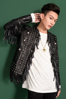 Luxury mens black tassels PU event/stage performance short fashion jacket/studio/red carpet jacket/ASIA SIZE