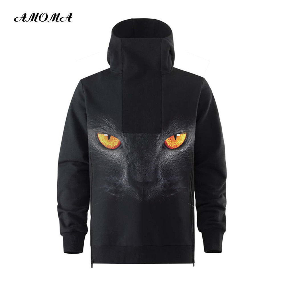 AMOMA Unisex Realistic 3D Print Hoodie High Collar Decorative Zipper Pullover Hooded Sweatshirt