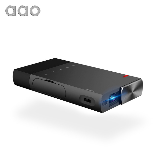 Cheap AAO 5200mAh Builtin Battery DLP A1 Portable Mini Projector 2000Lumens Sync Wired Display For 1080P Home Theater With HDMI USB TF