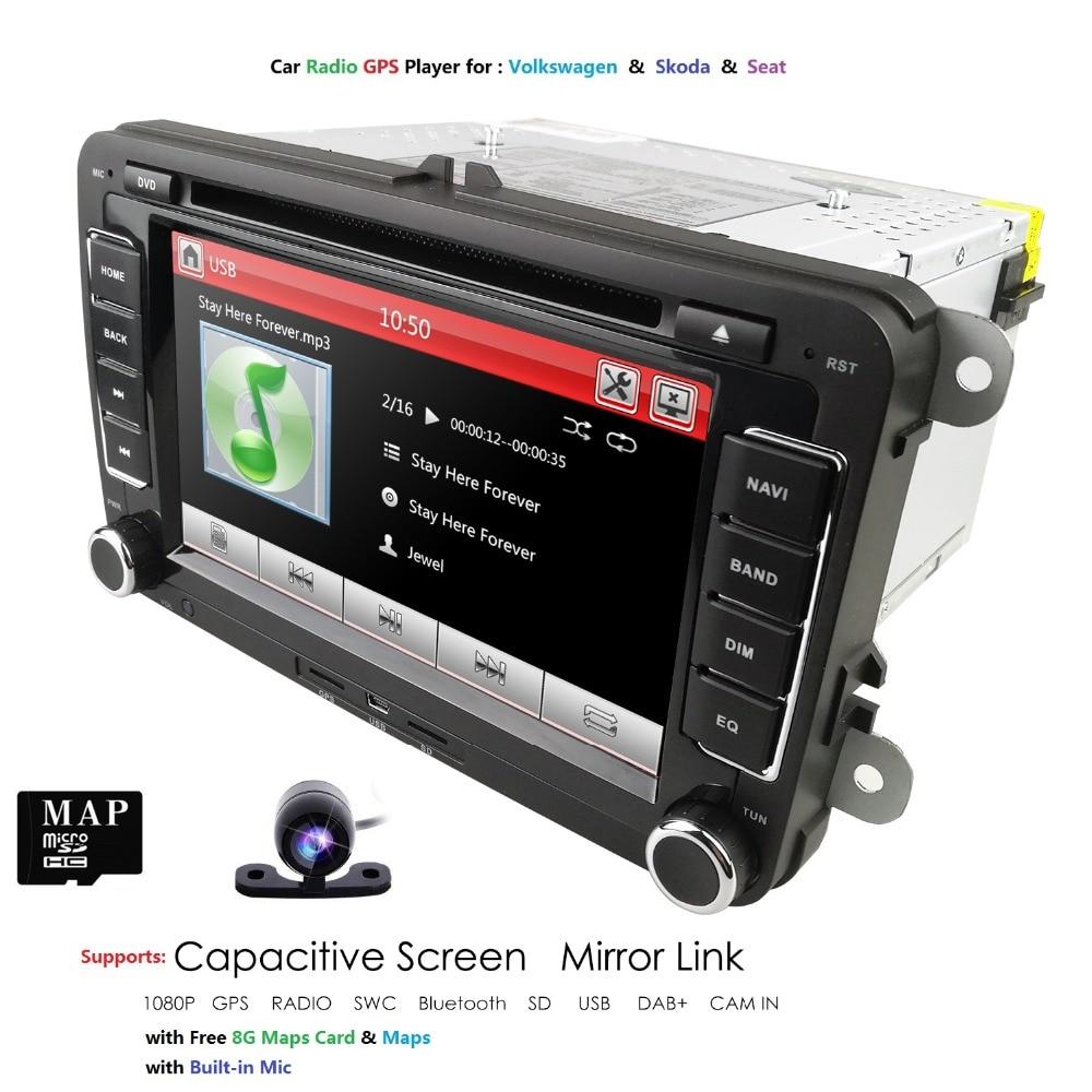 multimedia 2 DIN CAR GPS For Seat Altea Leon Toledo volkswagen V W Passat b6 POLO golf 5 golf 6 touran passat CC DVD DAB+ SD CAM