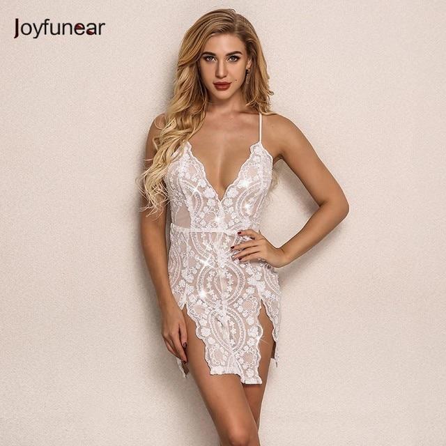 0d27f21b4c Joyfunear White Sequin V Neck Sexy Mini Dress Summer Backless Nightclub  Women Dress Bodycon Party Dresses