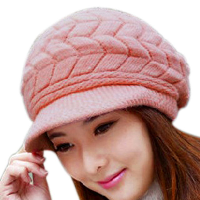 Us 17 12 Vogue Womens Winter Hats For Women Slouchy Openings Fluffy Knit Beanie Crochet Hat Brim Cap Knitting Caps In Skullies Beanies From
