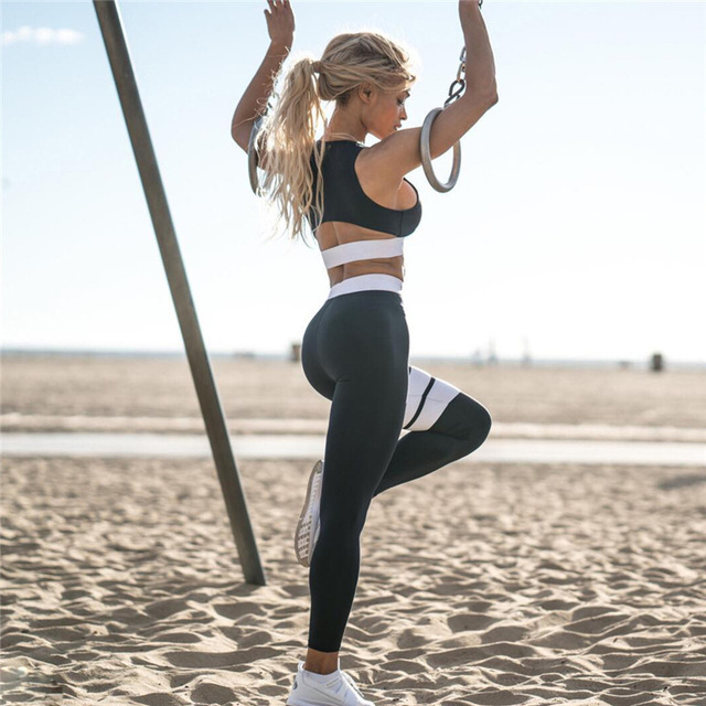 Women's Fitness Suits Cropped Tank Workout Bra Top And Legging Pants 2 Pieces Set Fashion Female Red Striped Sexy Tracksuit 3