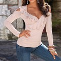 Newest Blusas 2017 Autumn Women Shirts Sexy Off Shoulder Tops V Neck Long Sleeve Blouses Hollow Out Ruffles Solid Shirt