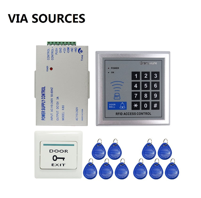 Free Shipping 125KHZ DIY RFID Door Access Control System Kit Set  Power Supply Control + Rfid Reader Code Keypad