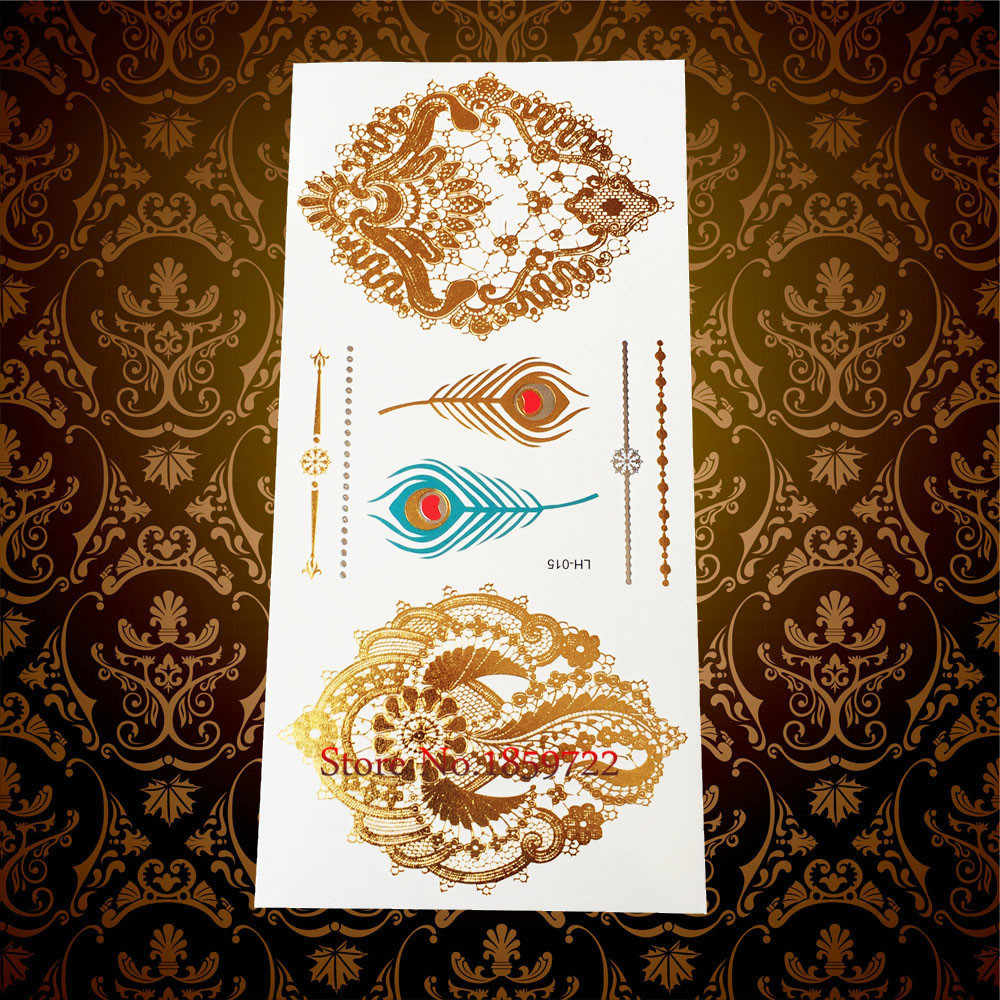 Neue Gold Hamsa Elefanten Ganesha Tattoo Body Art Anhänger Halskette Design Temporäre Tattoo Aufkleber Wasserdicht Feder Tatoo Jewel