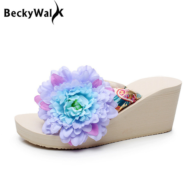 deb022d8c2adc6 BeckyWalk Summer Beach Shoes Women Platform Wedges Sandals Women Fashion  High Heels Flip Flops Slippers with Big Flower WSH2661