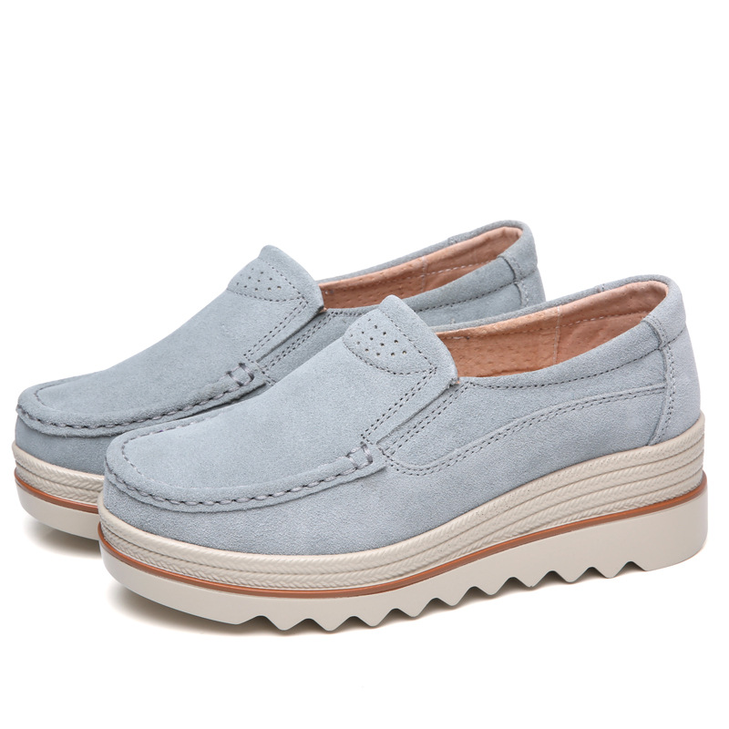 Cow   Suede   Genuine   Leather   Shoes Creepers New 2018 Spring Summer Sneakers Casual Shoes Women's Flats Platform Sneakers Size 41 42