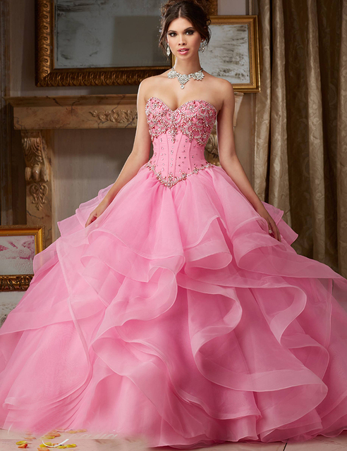 Cheap Pink Quinceanera Dresses Cheap 2016 Layered Ball Gown Organza Beaded  Sequins Top Bodice Corest 15 12ca6a2245e3