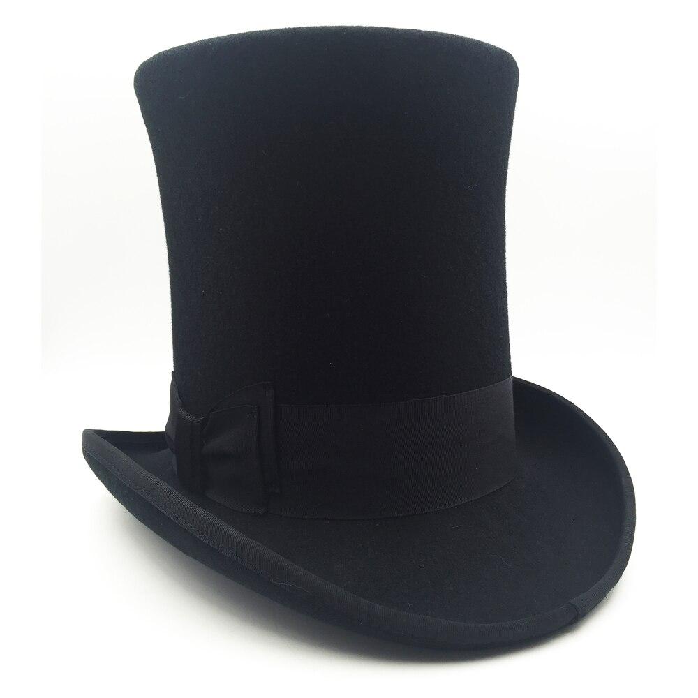 100 Wool Vintage Top Hat Black Crown Hat Retro Victorian Magic Hat 8 Deep 25cm Tall