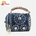 Multifunción de diseño de bolsas de diamantes de imitación delicado diamante de lujo bolsos de las mujeres bolsas de viaje bolsa de mensajero de la borla
